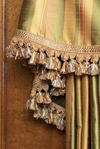 detailed close-up photo of tassles on custom made drapery