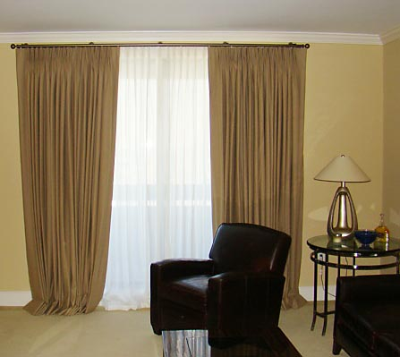 gold drapes in a living room