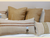 pillows made with burlap and buttons