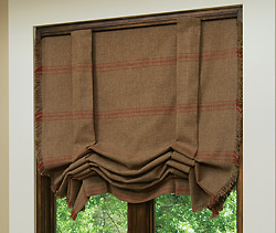 custom made Roman shade on a window