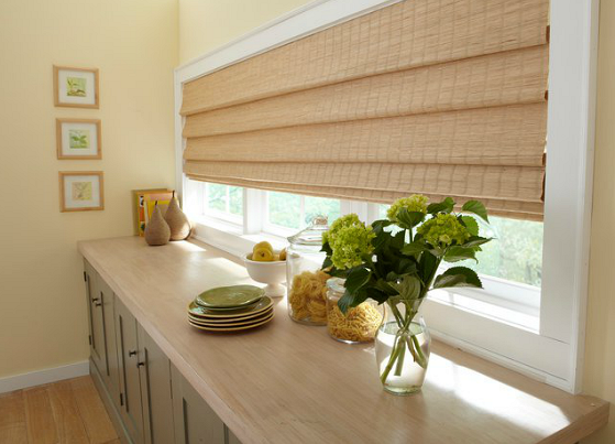 Beautiful Shades create a warm lighting choice for your kitchen windows