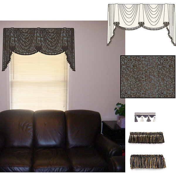 computer rendering of a family room window treatment