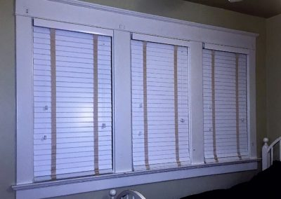 3 wood blinds inside mount