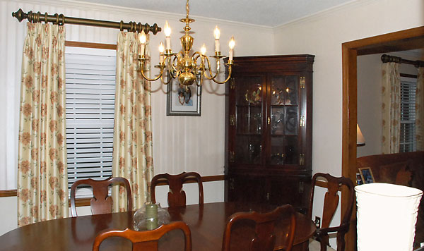 Lined curtains in a dining room