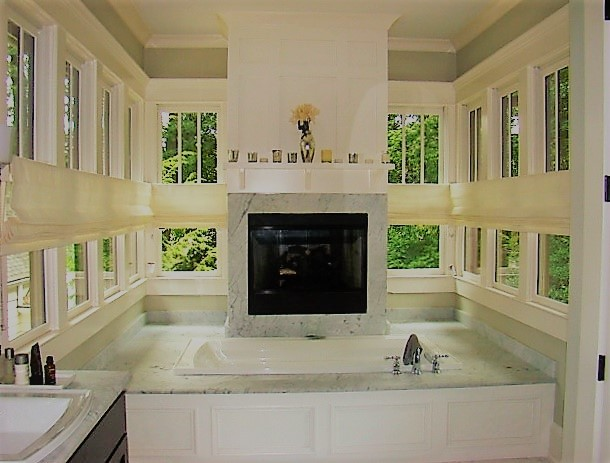bathroom roman shades side by side